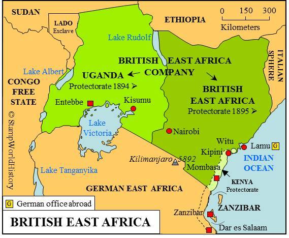 Historic mombasa uganda 1901 map of uganda on the eastern shore of lake victoria uganda railways was named after the kingdom of buganda then called uganda in swahili sciox Gallery